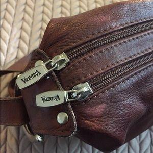 Valentina Rich leather Bucket Bag Chocolate Brown